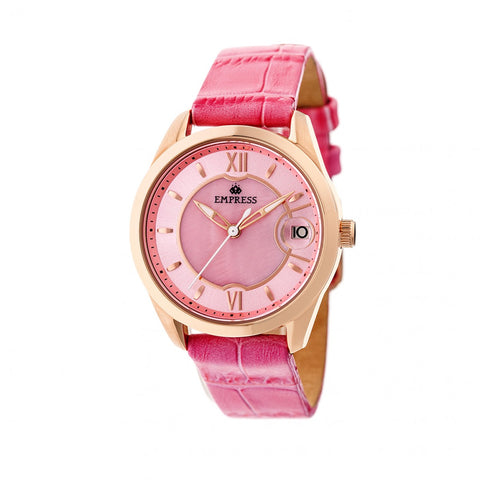 Empress Messalina MOP Leather-Band Watch w/Date - Pink EMPEM2405