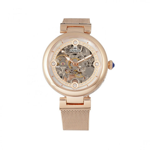 Empress Adelaide Automatic Skeleton Mesh-Bracelet Watch - Rose Gold