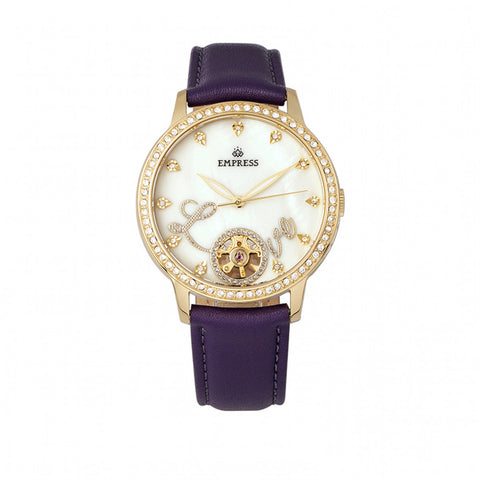 Empress Quinn Semi-Skeleton Dial Leather-Band Watch - Purple