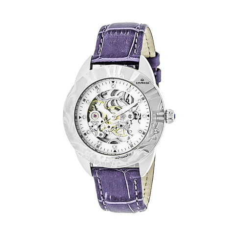 Empress Godiva Automatic MOP Leather-Band Watch - Silver/White EMPEM1105