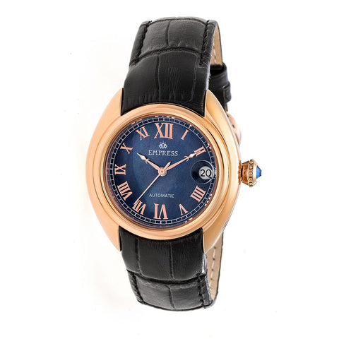 Empress Antoinette Automatic MOP Leather-Band Watch - Rose Gold/Black EMPEM1406