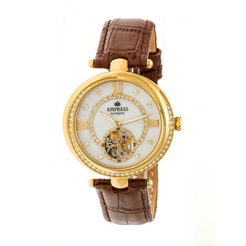 Empress Stella Automatic Semi-Skeleton Dial Leather-Band Watch - Brown/White EMPEM2104