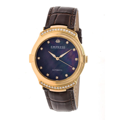 Empress Francesca Automatic MOP Leather-Band Watch - Dark Brown EMPEM2203