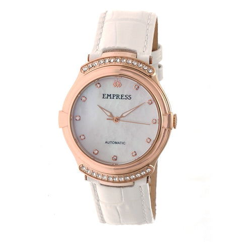 Empress Francesca Automatic MOP Leather-Band Watch - White EMPEM2205