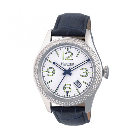 Heritor Automatic Barnes Leather-Band Watch w/Date - Silver/Navy HERHR7102