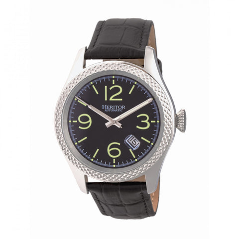 Heritor Automatic Barnes Leather-Band Watch w/Date - Silver/Black HERHR7103