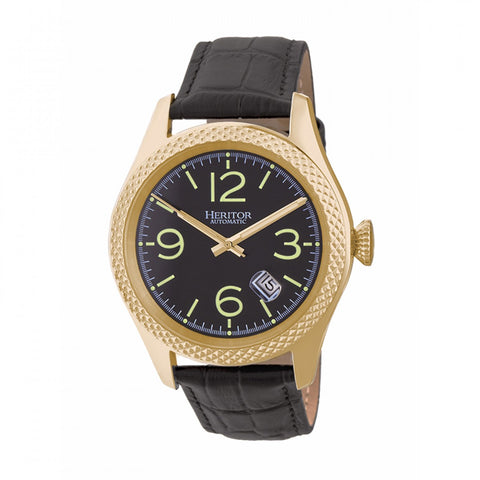 Heritor Automatic Barnes Leather-Band Watch w/Date - Gold/Black HERHR7104
