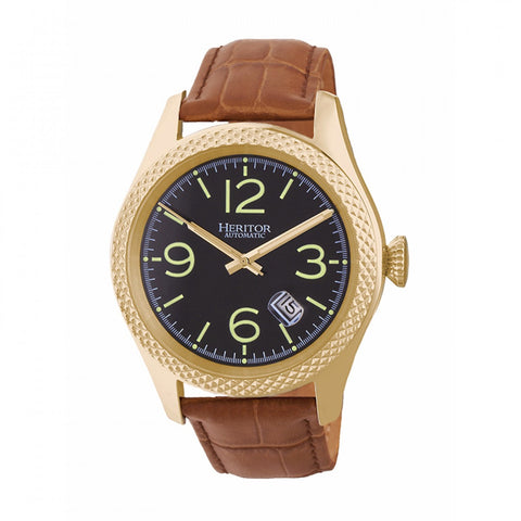 Heritor Automatic Barnes Leather-Band Watch w/Date - Gold/Brown HERHR7105
