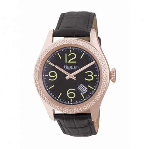 Heritor Automatic Barnes Leather-Band Watch w/Date - Rose Gold/Black HERHR7106