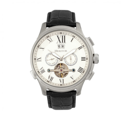 Heritor Automatic Hudson Leather-Band Watch w/Date - Black/Silver