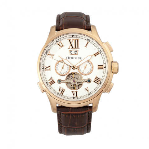 Heritor Automatic Hudson Leather-Band Watch w/Date - Brown/Rose Gold/Silver