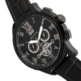 Heritor Automatic Hudson Semi-Skeleton Leather-Band Watch w/Day/Date - Black HERHR7505