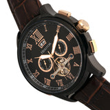 Heritor Automatic Hudson Leather-Band Watch w/Date - Brown/Black