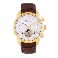 Heritor Automatic Arthur Semi-Skeleton Leather-Band Watch w/ Day/Date - Gold/Silver HERHR7904
