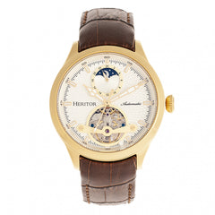 Heritor Automatic Gregory Semi-Skeleton Leather-Band Watch - Gold/Brown HERHR8103