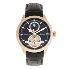 Heritor Automatic Gregory Semi-Skeleton Leather-Band Watch - Rose Gold/Black HERHR8105