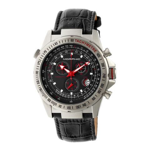 Morphic M36 Series Leather-Band Chronograph Watch - Silver/Black MPH3602