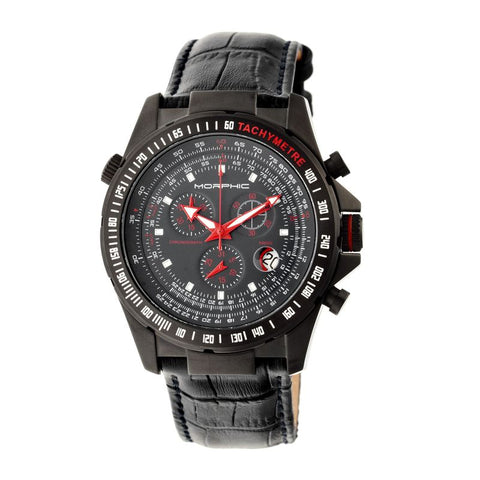 Morphic M36 Series Leather-Band Chronograph Watch - Black/Charcoal MPH3607