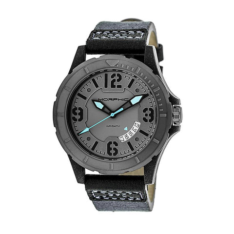 Morphic M47 Series Leather-Band Watch w/ Date - Grey/Charcoal MPH4703