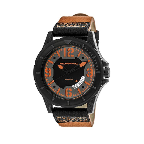 Morphic M47 Series Leather-Band Watch w/ Date - Orange/Black MPH4705