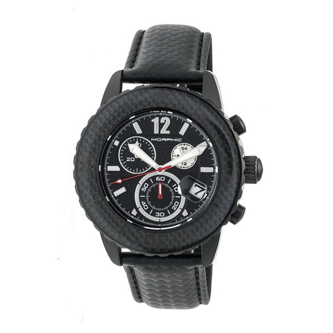 Morphic M51 Series Chronograph Leather-Band Watch w/Date - Black MPH5104