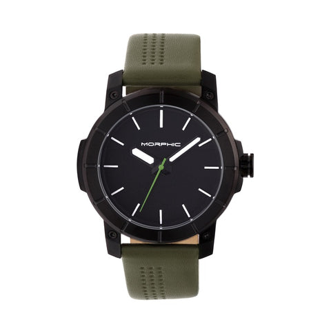 Morphic M54 Series Leather-Band Chronograph Watch - Black/Olive MPH5407