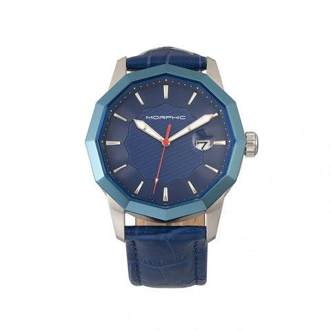 Morphic M56 Series Leather-Band Watch w/Date - Silver/Blue