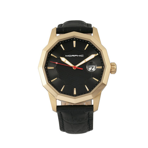 Morphic M56 Series Leather-Band Watch w/Date - Gold/Black
