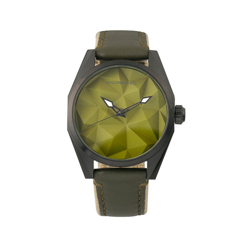 Morphic M59 Series Leather-Overlaid Canvas-Band Watch - Olive MPH5906