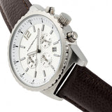 Morphic M67 Series Chronograph Leather-Band Watch w/Date - Silver/Brown