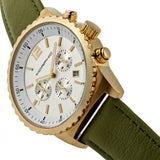 Morphic M67 Series Chronograph Leather-Band Watch w/Date - Gold/Olive MPH6703