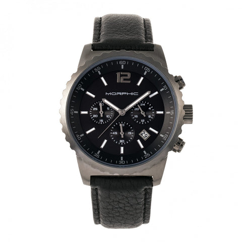 Morphic M67 Series Chronograph Leather-Band Watch w/Date - Gunmetal/Black MPH6704