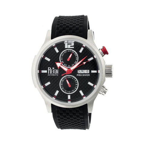 Reign Capetain Automatic Watch w/Day/Date - Silver/Black REIRN1102
