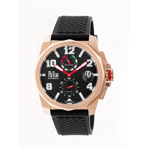 Reign Zhu Automatic Watch w/Magnified Date - Rose Gold/Black REIRN3004