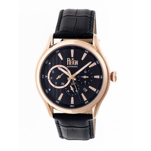 Reign Gustaf Automatic Leather-Band Watch - Black/Rose Gold REIRN1505