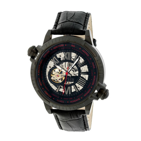 Reign Thanos Automatic Leather-Band Watch - Black/Red REIRN2103