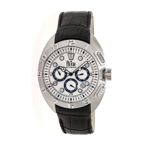 Reign Ronan Automatic Leather-Band Watch w/Day/Date - Black/Silver/Silver REIRN3401