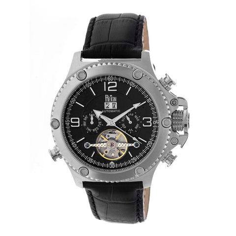 Reign Goliath Automatic Leather-Band Watch - Silver/Black REIRN3302