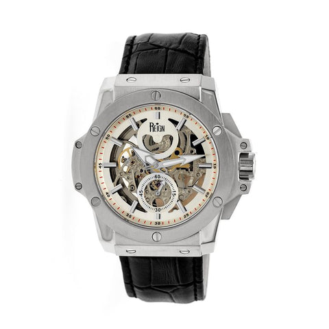 Reign Commodus Automatic Skeleton Leather-Band Watch - Silver REIRN4001