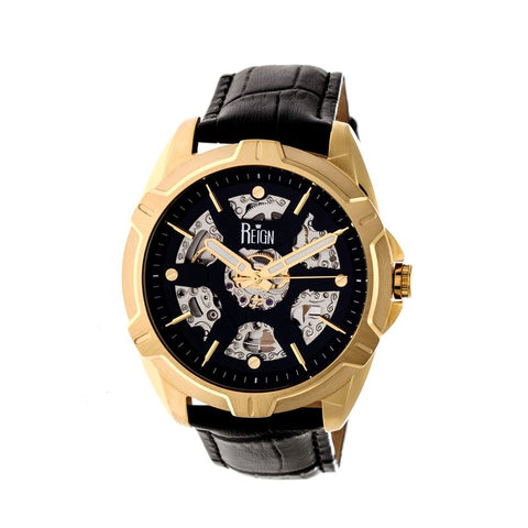 Reign Carlisle Automatic Skeleton Leather-Band Watch - Gold/Black REIRN4205