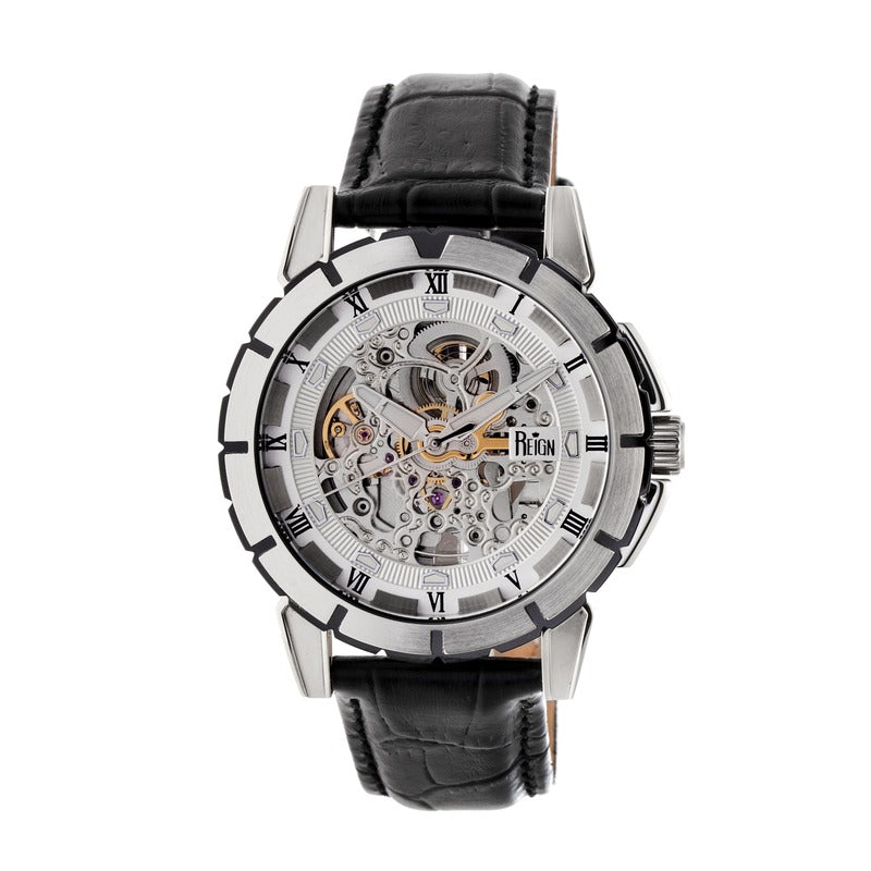 e33c322db Reign Philippe Automatic Skeleton Leather-Band Watch - Black/White REIRN4603