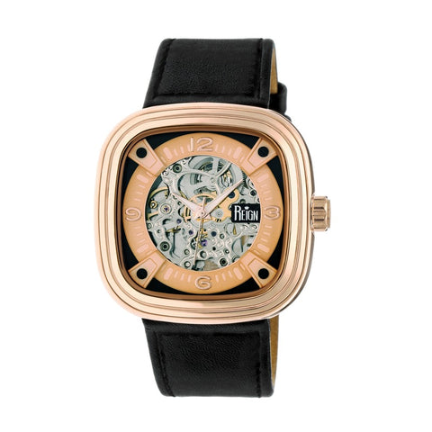 Reign Nero Skeleton Dial Leather-Band Watch - Rose Gold REIRN4805