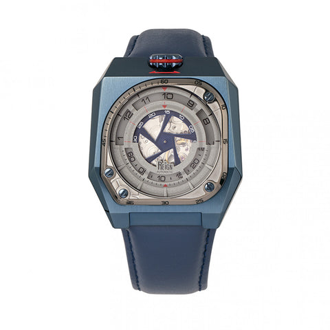 Reign Asher Automatic Sapphire Crystal Leather-Band Watch - Blue REIRN5105