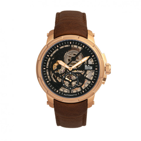 Reign Matheson Automatic Skeleton Dial Leather-Band Watch - Rose Gold/Brown
