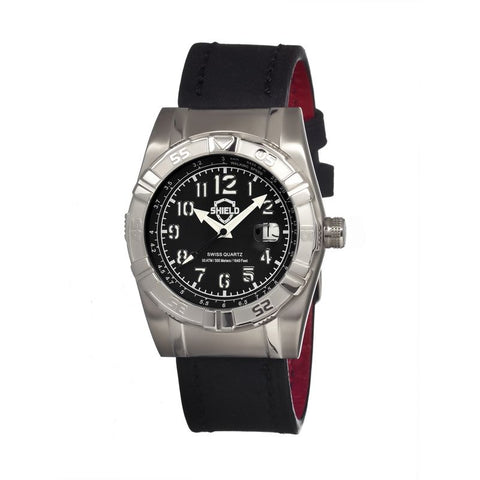 Shield Jarrod Leather-Band Swiss Men's Diver Watch - Silver/Black SLDSH0402