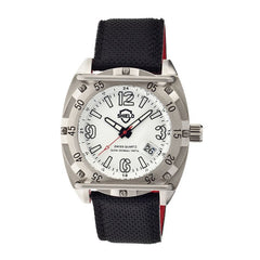 Shield Pilecki Leather-Band Swiss Mens Diver Watch - Silver/White