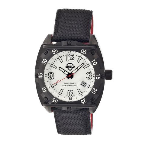 Shield Pilecki Leather-Band Swiss Mens Diver Watch - Black/White SLDSH0605