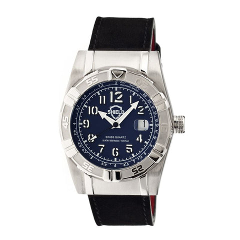Shield Jarrod Leather-Band Swiss Men's Diver Watch - Silver/Navy SLDSH0407