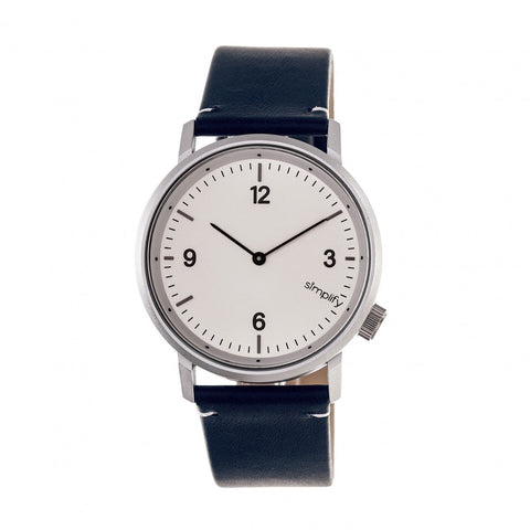 Simplify The 5500 Leather-Band Watch - Silver/Blue SIM5501