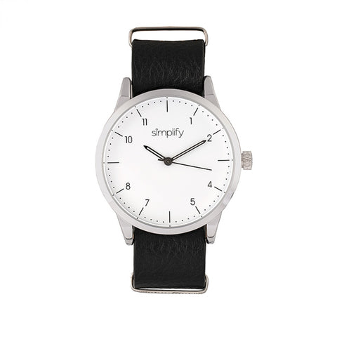 Simplify The 5600 Leather-Band Watch - White/Black SIM5601